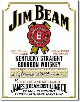 Jim Beam White Label Kentucky Whiskey USA Metall Schild Werbung