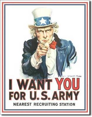 Uncle Sam USA Army Klassik USA Metall Deko Schild - I Want You