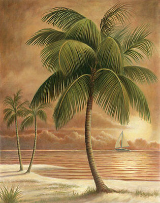 6 Tropical Palm Tree Art Prints Beachy Feel Home Decor on Rummage