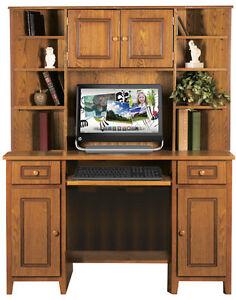2098/2099 - Oak Finished Corner Computer Desk with Hutch