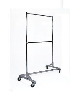 3 12 Ft Heavy Duty Double Bar Z Rack Clothing Garment Clothes Rolling Silver