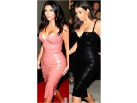 Sexy leather dress bodycon pleather tight Christmas cleavage Kim k