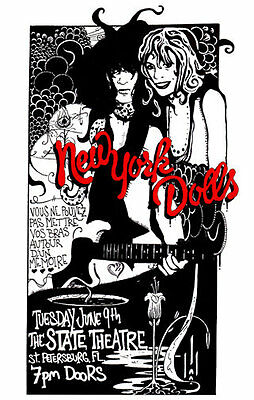 NEW YORK DOLLS CONCERT GIG POSTER Signed #d Classic PUNK Rock FL JOHNNY THUNDERS