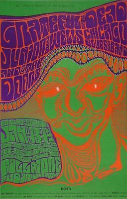 Grateful Dead POSTCARD Doors Junior Wells Chicago Blues Fillmore Wes Wilson BG45
