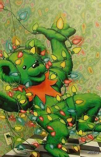 LOT OF 16 GRATEFUL DEAD BEAR XMAS CARDS  greatful art 1996 Jerry Garcia lights
