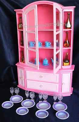 GLORIA FURNITURE BUFFET & HUTCH WINE CARAFES w/Dining Wares + Bottles Play Set