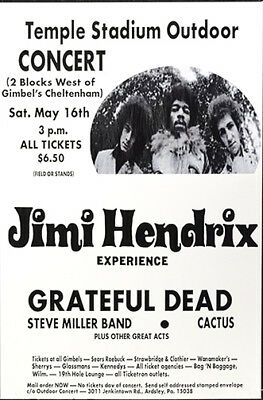 1970 Concert Poster for the Jimi Hendrix Experience with the Grateful Dead,