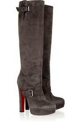 Christian Louboutin HARLETTY Suede Platform Knee High Boot Brown Grey 40.5 $1695