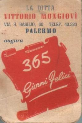 calendarietto 1957 ditta VITTORIO MONGIOVI' Palermo / sapone tascabile in fogli