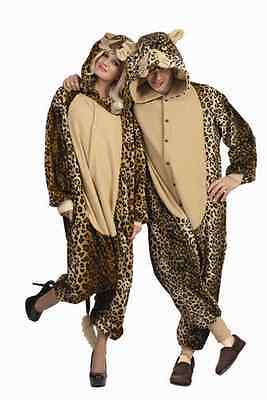 Cheetah Jumpsuit Costume (LUX LEOPARD ADULT MENS COSTUME CAT CHEETAH JUNGLE ZOO ANIMAL JUMPSUIT PAJAMAS)