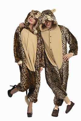 LUX LEOPARD ADULT MENS COSTUME CAT CHEETAH JUNGLE ZOO ANIMAL JUMPSUIT PAJAMAS - Cheetah Jumpsuit Costume