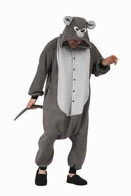 GREY GIANT MOUSE RAT ADULT COSTUME ANIMAL PAJAMAS JUMPSUIT FUNSIES MENS WOMENS