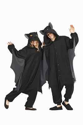 ADULT BUGSY THE BAT COSTUME ANIMAL PAJAMAS JUMPSUIT WITH WINGS BLACK FUNSIES