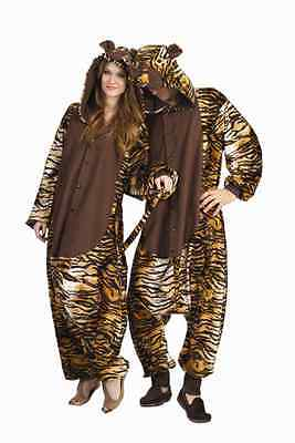 Tiger Costume For Men (TIGER ADULT KING OF JUNGLE SAFARI ZOO ANIMAL MENS JUMPSUIT PAJAMAS COSTUME)