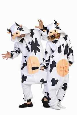 ADULT CASEY THE COW COSTUME MILK COW FARM ANIMAL PAJAMAS BLACK WHITE JUMPSUIT