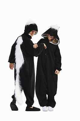 ADULT MENS WOMENS SKUNK HONEY BADGER COSTUME ANIMAL PAJAMAS JUMPSUIT BLACK WHITE (Black Man White Woman Halloween Costumes)