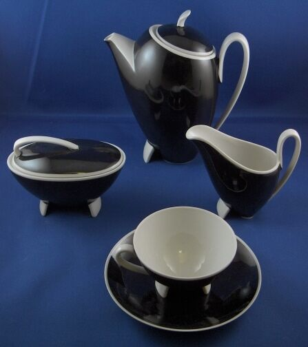 German Art Deco Eames Era Porcelain Black & White Set Porzellan Service Germany