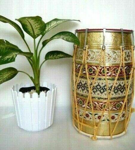 Folk MeenaKari WorkMusical Instrument  Mango Wood Punjabi Bhangra Dhol With Bag