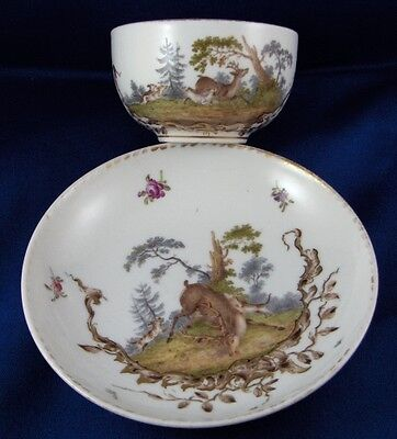 Antique 19thC Meissen Porcelain Hunting Scene Cup Saucer Porzellan Tasse Scenic