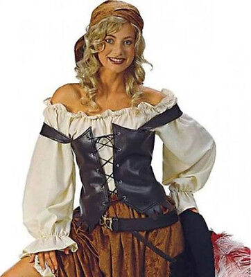 ADULT WOMENS LADY WHITE PIRATE BLOUSE PEASANT RENAISSANCE WENCH COSTUME SHIRT ()
