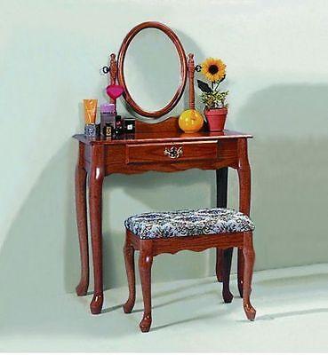 Used, Oak Bedroom Vanity Set Bathroom Make Up Bath Makeup Dressing Table Stool Dresser for sale  New Haven