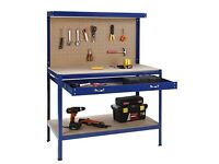 VONHAUS STEEL WORKBENCH WITH DRAWER & PEGBOARD - ONLY £40