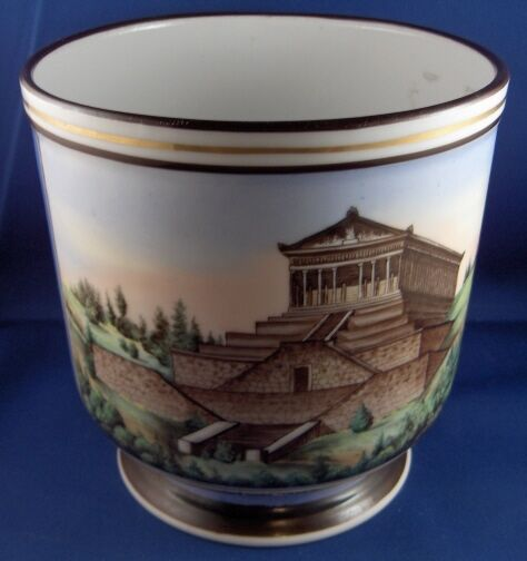 Antique 19thC German Porcelain Scenic Cache Pot Jardieniere Planter Walhalla