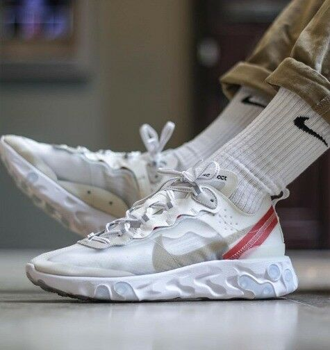 NIKE REACT ELEMENT 87 WHITE SAIL LIGHT BONE (free delivery)
