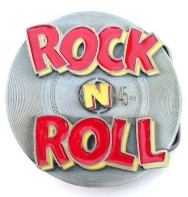 Rock N Roll On 45 Record Belt Buckle