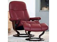 Dark Burgundy leather recliner and footstool