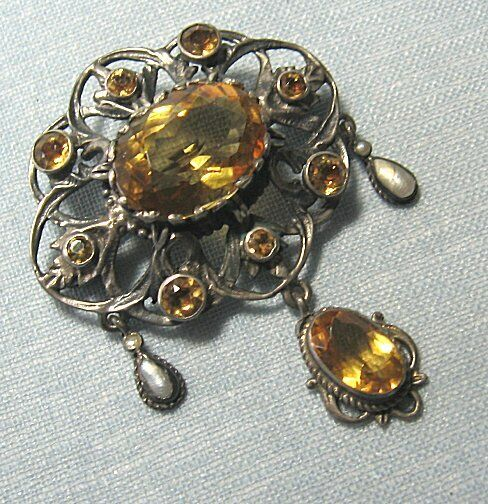 Vintage Silverplate Pendant / Pin w Mother of Pearl & Crystal