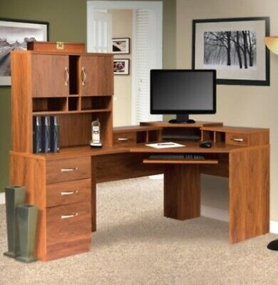 Reversible Corner Desk Computer Workstation Executive Workcenter With Hutch New