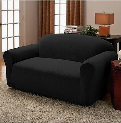 2 Piece Black Stretch Couch Sofa + Love seat Slip Cover New at Linen plus