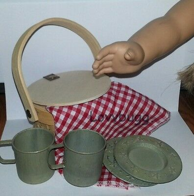 "Lovvbugg Camp Picnic Basket w Dishes n Cups for 18"" American Girl Doll Accessory"