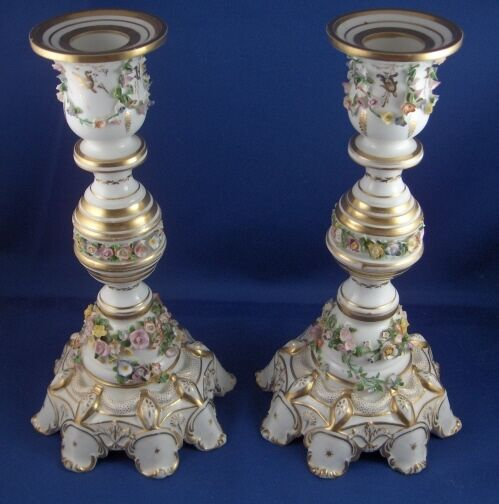 Antique 19thC Derby Porcelain Pair Candlesticks Candle Holders Sticks English