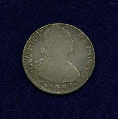 PERU SPANISH COLONIAL CHARLES IIII 1798-IJ  8 REALES SILVER COIN, VF/XF