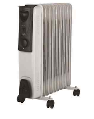 New Portable 9 Fin 2000w Electric Oil Filled Radiator Heater With Thermostat Wh
