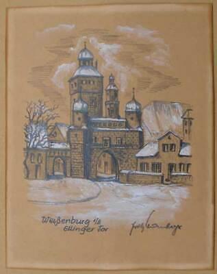 g i/B Ellinger Tor  in winterlicher Stimmung  (Stimmung Bleistifte)