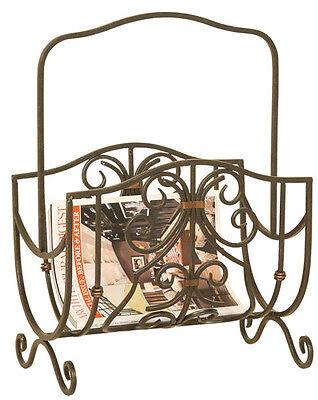 2332 - Oil Rubbed Bronze Scroll-Work Magazine Rack Bronze Metal Magazine Rack