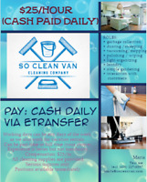 Cleaners $25/hr (Cash Paid Daily)