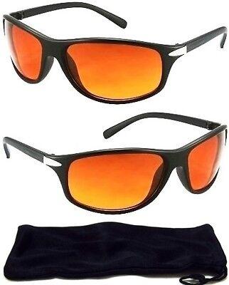 04514a67c35 HD Driving Aviator SunGlasses Golf Vision Amber Blue Blocker High  Definition NEW