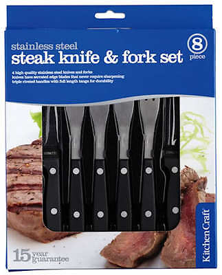Kitchen Craft Cutlery Set of 8 Stainless Steel Steak Knives & Forks