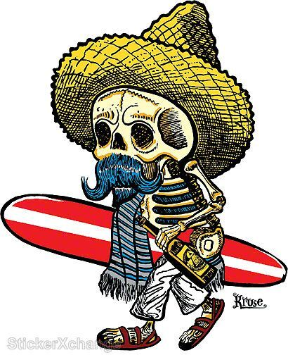 Mini Size El Borracho Surfer STICKER Decal Kruse RK20B