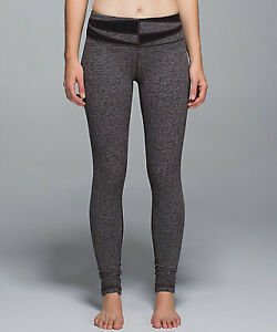 NWT Lululemon Wunder Under Pant Herringbone Heathered Black 6