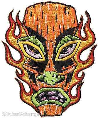Flaming Tiki Head PATCH Embroidered Iron-On Art Alan Forbes AFP16