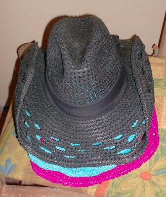 Rolled Brim Straw Cowboy Hat - Pink or Blue Western Lace Toyo Straw Rolled Brim Cowgirl Cowboy Hat Scarf band
