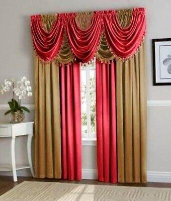- Hyatt WINDOW TREATMENT Royal Velvet complete set 4 Panel & 5 valance berry Gold