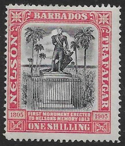 BARBADOS SG151 1906 NELSON 1/= BLACK & ROSE MTD MINT
