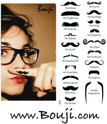 19 Moustache Mustache Finger Temporary Tattoos - Fun and Cute! - Cute Finger Tattoos