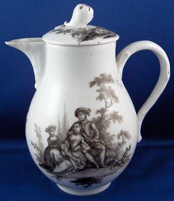 Antique 18thC 1765 Meissen Porcelain Schwarzlot Scene Scenic Pot Porzellan Kanne